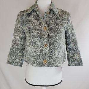 Theory Cropped Blazer Jacket Damask Button Down
